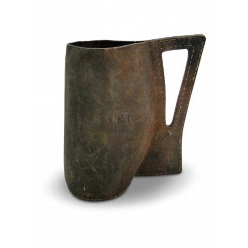 Pointed Handle Leather Tankard
