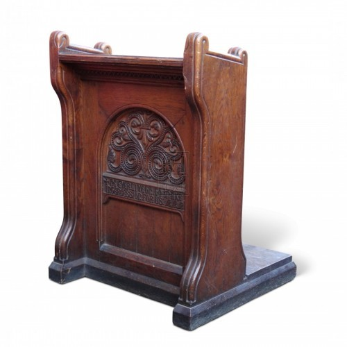 Lectern with Carved Inscription