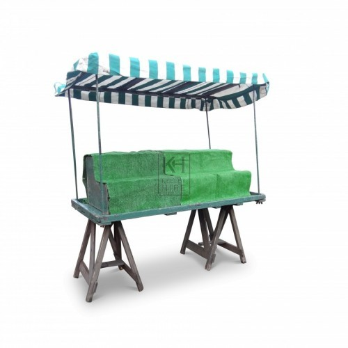 Green painted trestle market stall
