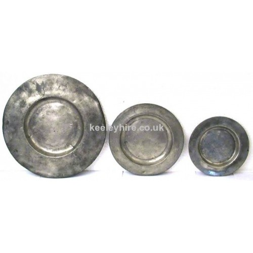 Pewter plates 3 sizes