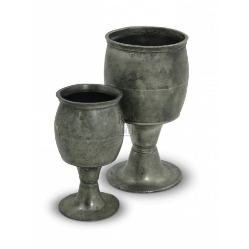 Barrel Shaped Pewter Pint Goblet
