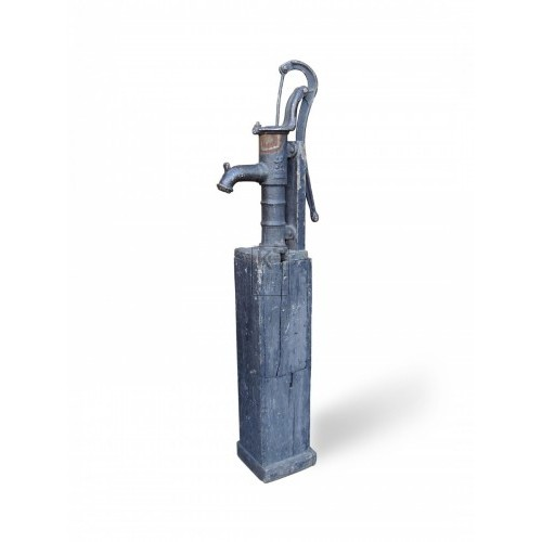 Iron Water Pump on Wooden Base