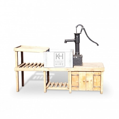 Wood Sink Unit with Small Pump