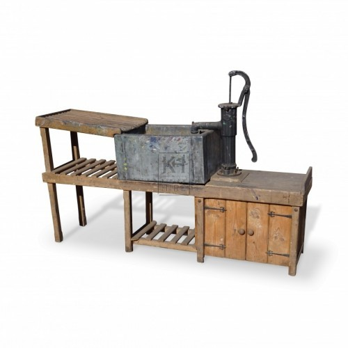 Wood Sink Unit with Large Pump