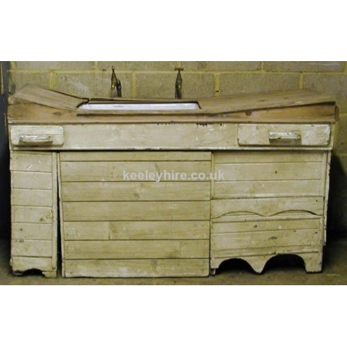 White Wooden Sink Unit With Taps