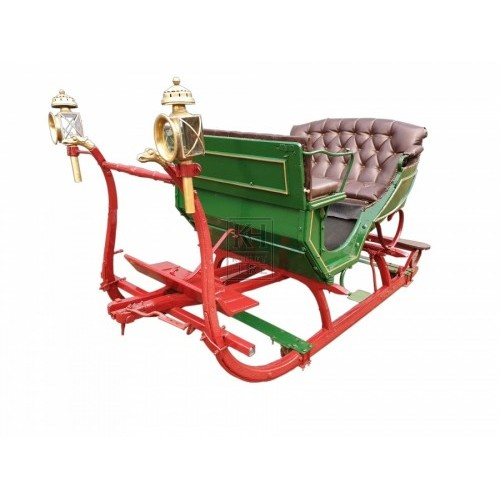 Red & Green Victorian Horse Sleigh
