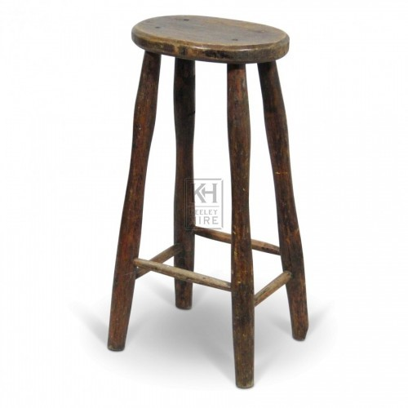Tall Oval Wood Bar Stool