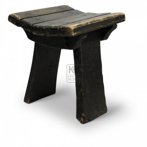 Dark Wood Saddle Stool