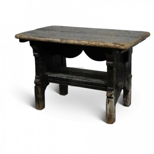 Rectangle Dark Wood Stool
