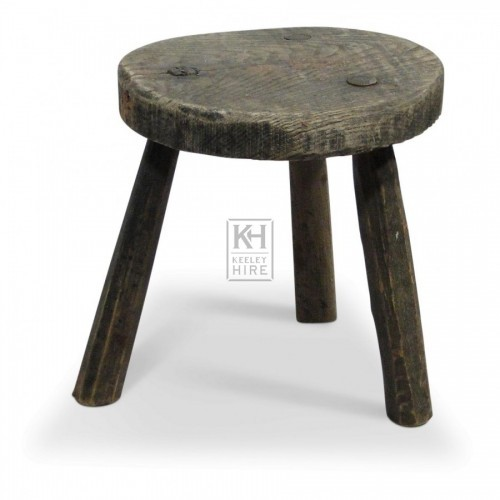 Round Wood Stool with 3 Legs