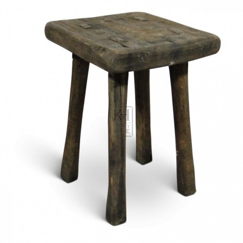 Square Plain Wood Stool