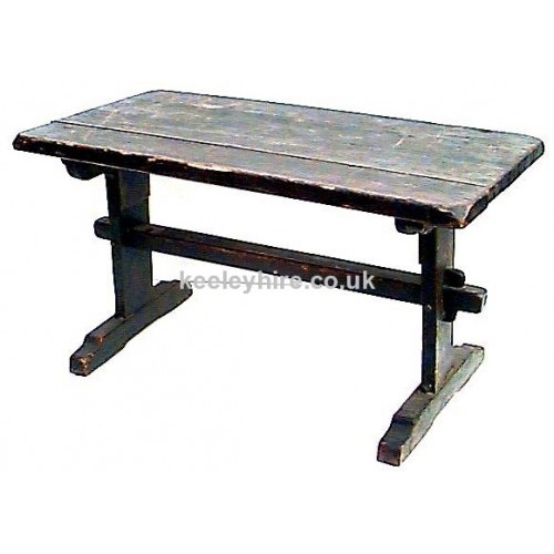 Dark wood table with beam