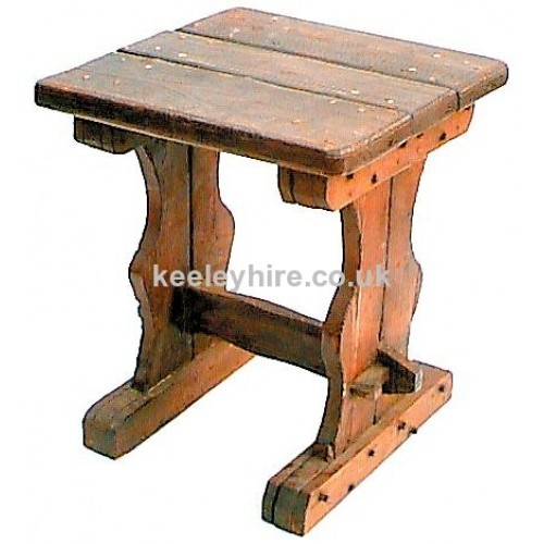 Square wood table with shaped legs