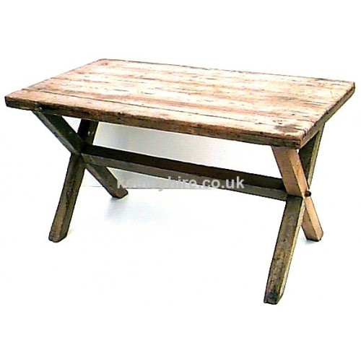 X-frame wood table