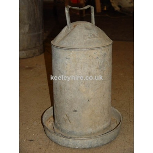 Galvanised chicken water feeder