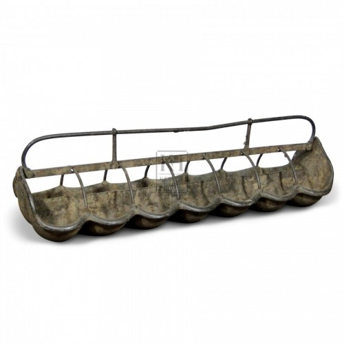Galvanised Pig Trough with curved bowls