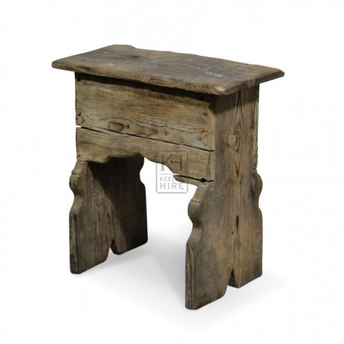 Wood Stool with Carved Legs