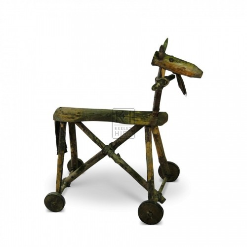 Rustic Toy Horse with wheels