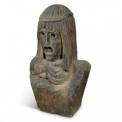 Carved Wood Egyptian Head