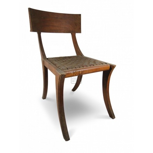Woven Leather Seat Shaped Wooden Chairs