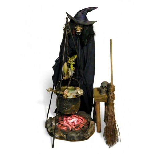Witch with broom and fire