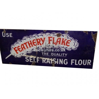 Feathery Flake enamel sign