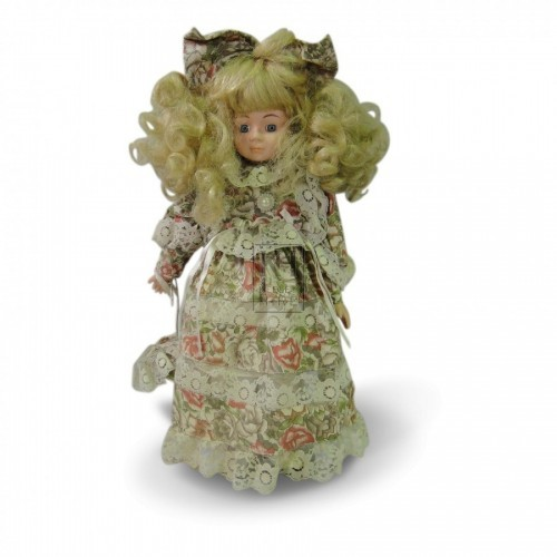 China Face Doll with Floral Dress