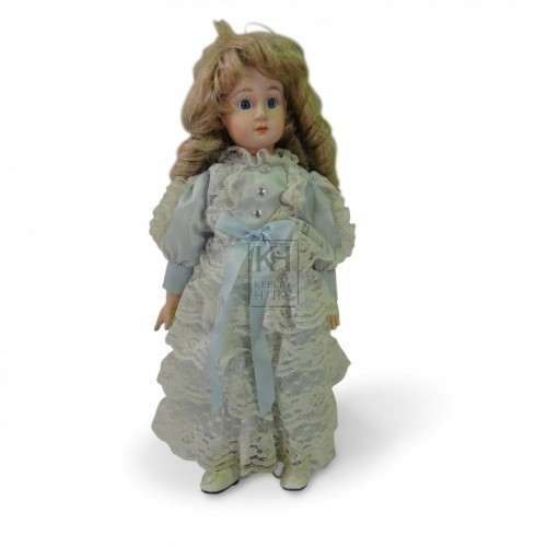 China Face Doll with Blue & Lace Dress