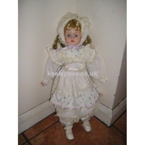 China Face Doll with White Flower Dress