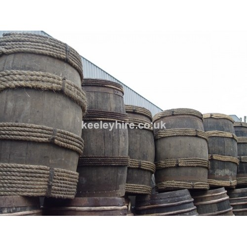 Wood 3ft rope bound barrels
