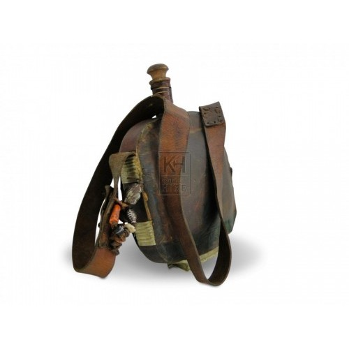 Leather Water Bottle with shoulder strap