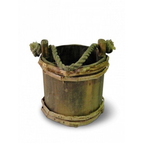 Wood bucket with rope handle