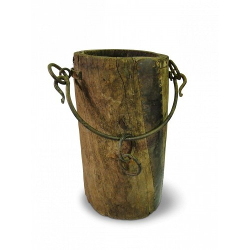 Wood Bucket with Iron Handle