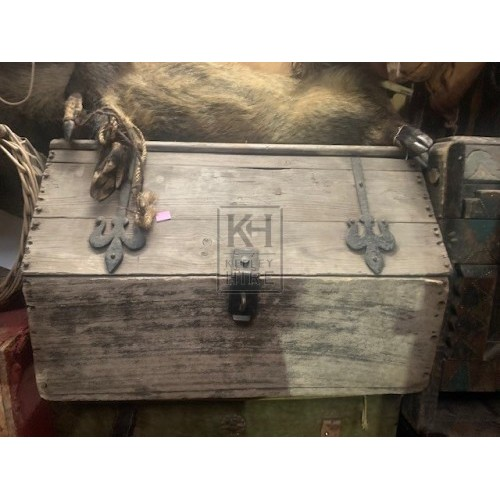 Shaped top dark wood chest