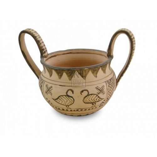 Greek Pottery Bowl with large handles