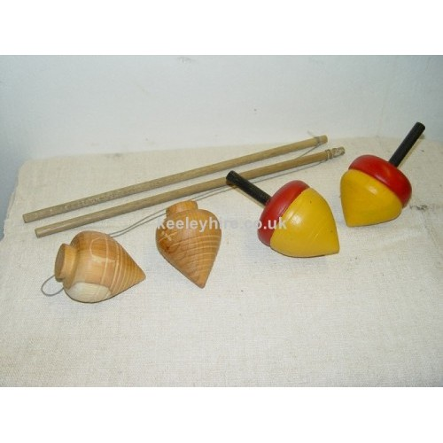 Wood painted spinning tops & sticks