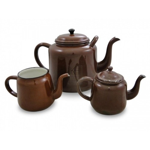 Enamel Teapots - Brown