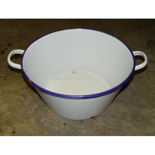 Enamel Bowl with Handles White