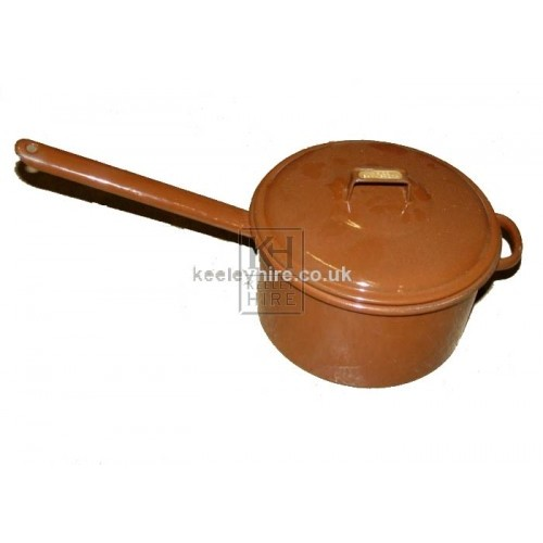 Brown enamel saucepan