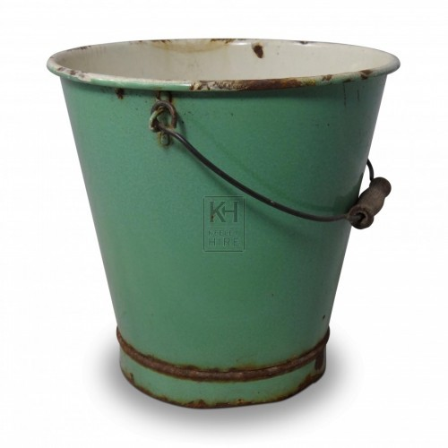 Green Enamel Bucket
