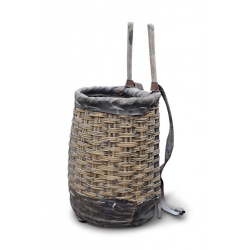 Wicker back basket with leather straps