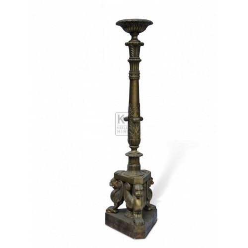 Tall Floorstanding Ornate Gold Pedestal