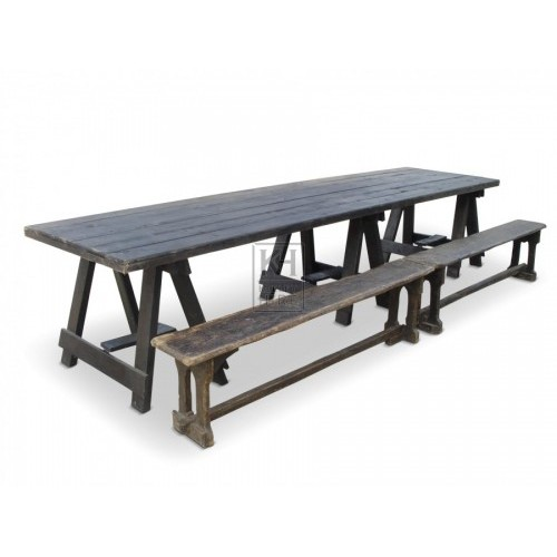 12ft dark wood banquet table
