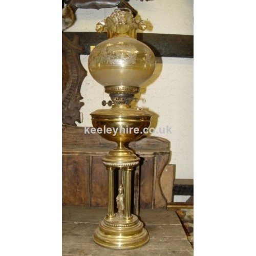 Brass Oil Lamp with Glass Shade