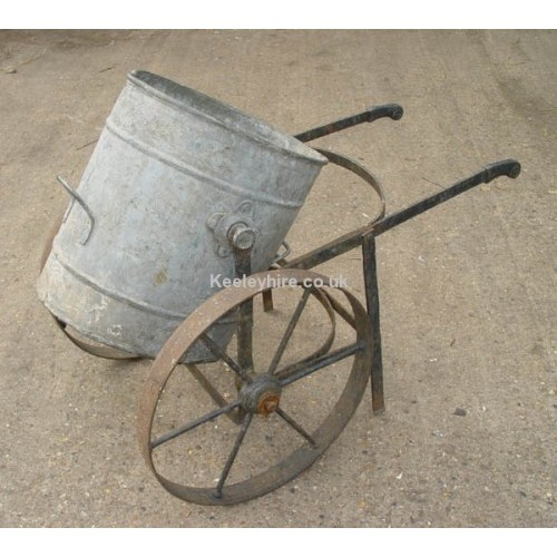 2 wheeled iron trolley with bin