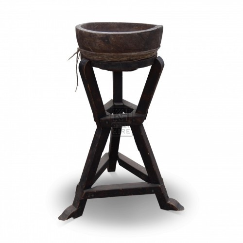 Wooden Wash Bowl on Stand