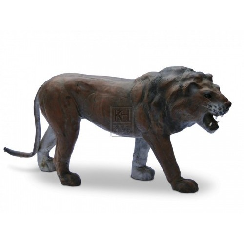 Medium Leather Lion Statue