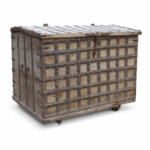 Large Wood Chest with Metal Bands