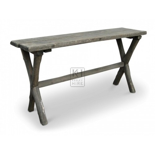 Narrow Wooden Table with X Legs