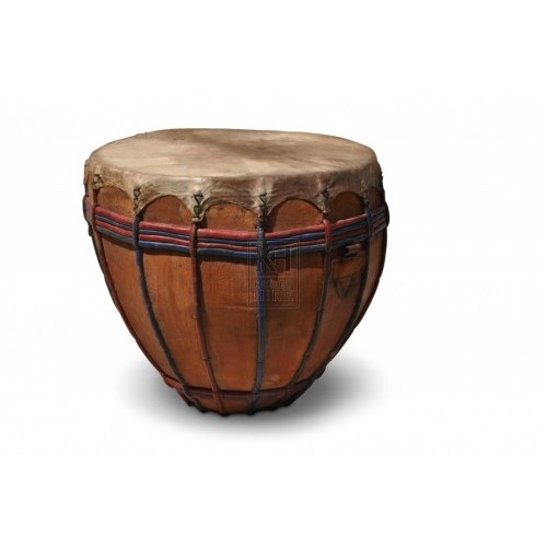 Leather drum with stripe detail
